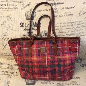 Dooney & Bourke red plaid tote bag
